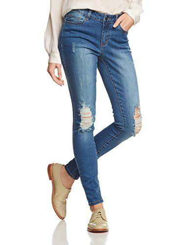 PIECES Damen Skinny Hose Pcjust Jade R.m.w. Legging, Gr. 36 (Herstellergröße: S/M), Blau (Medium Blue Denim)
