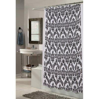 Carnation Home Fashions Regal Damask Fabric Shower Curtain Black/White - FSCF-REL/75