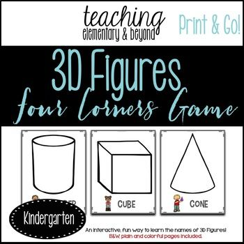 Four Corners is a fun interactive game for students to become engaged while learning about 3D solid figures. You can post four posters around your classroom OR as many as you choose to post for students to call them out! Instructions