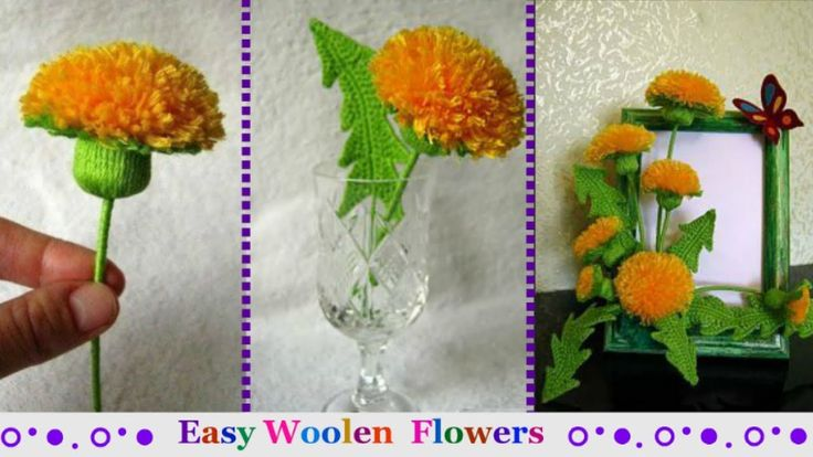 How to make Easy Woolen Flowers step by step|Handmade woolen thread flow...