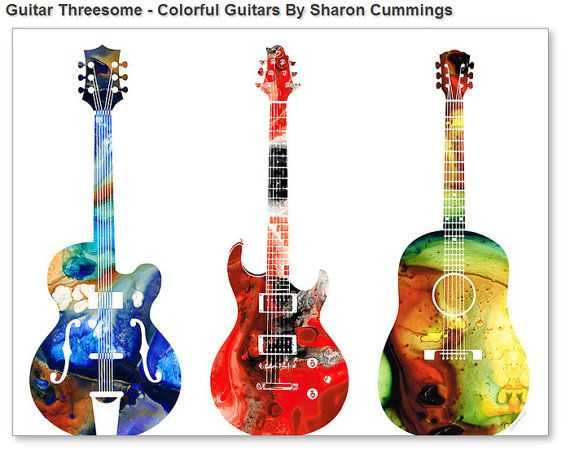 Guitar Art Print Painting Bass Electric Vintage Acoustic Rock And Roll Music Colorful CANVAS Ready To Hang Large Artwork Colorful Abstract on Etsy, $35.00