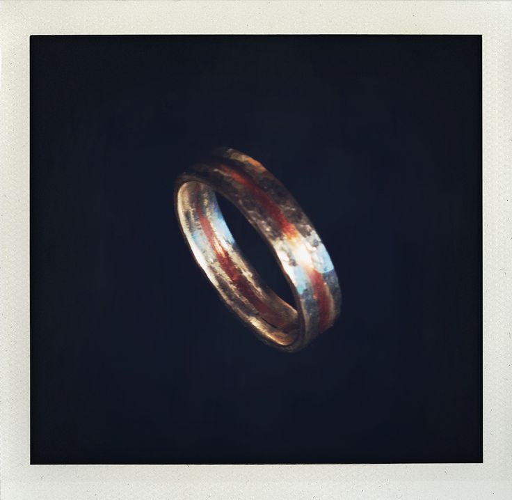 Men's beaten ring from silver and copper