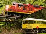 Pudding Creek Express and Northspur Flyer (January 1, 2017 through November 30, 2017 and December 26, 2017 through January 1, 2018) Come ride the Skunk in its natural habitat. Forty miles of railroad run through majestic redwood forests, scenic mountain meadows, and over 30 trestles bridging the pristine mountain waters of Northern California.Departing from Willits and traveling to Northspur, your train will climb the Eastern slope of the Coastal Mountain Range and cut through it at Tunnel…
