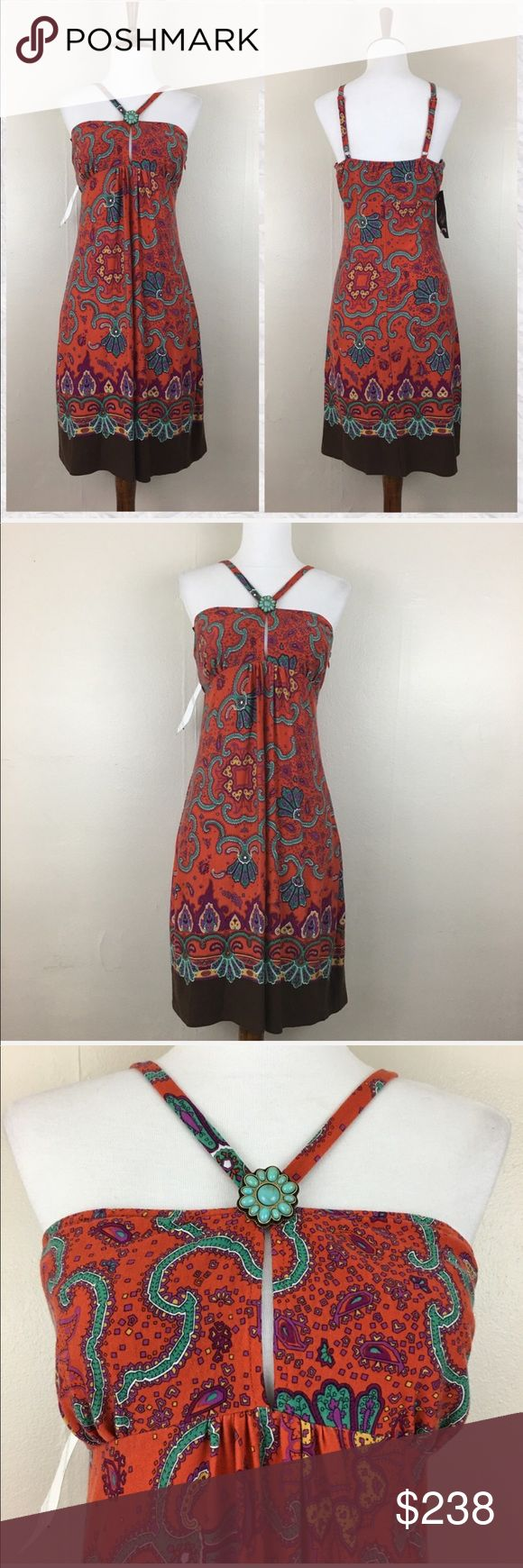 """Laundry Shelli Segal Paisley Halter Dress *NWT *PLEASE NOTE** tags are those shown in photo from Lord & Taylor *Tag reads 6 but may run a bit small in my opinion. *Adjustable straps *Bust is lined. Skirt is unlined. *Empire waist *Keyhole in bodice *Side zip *Shell: 97% Tencel Lyocell 3% Spandex *Lining: 97% Tencel Lyocell 3% Spandex *Dry clean *Measurements are approx & taken lying flat *Bust: 31"""" *Empire Waist: 30"""" *Hip: 42"""" *Shoulder to Hem: 35.5"""" but can vary slightly due to adjustable…"""