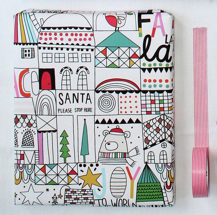 Louise's Fa La La Christmas Wrapping Paper - Paper Cloth Design Studio Christmas Shop on notonthehighstreet.com