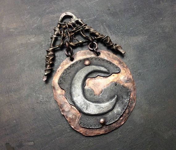 Pewter and Copper Moon pendant w/handmade frames of copper & silver solder. Length: 65mm Width: 42mm