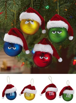 M Santa Hat Christmas Ornaments - Set of 4