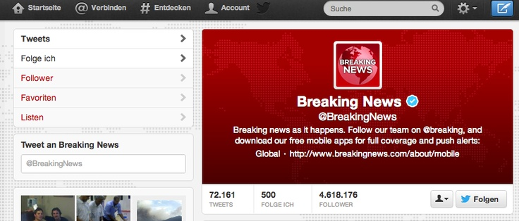 Twitter Kopfzeile (Header) Breaking News