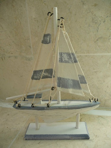 Seaside Nautical Wooden Shabby Chic Bathroom Ornament Sailing Boat / Yacht NEW | eBay