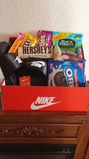 "He said; "" Mom… I'm Too old for easter Baskets."" Lol #nike #hisfavoritesnacks"