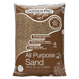 Use something like this - 1 bag per bucket.  ($2.74). We used Garden Pro paver sand 0.5 cubic feet