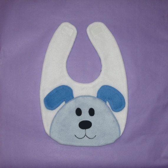 Puppy Dog Bib / Infant Baby Bib / Animal Fleece Bib / Animal Bib / Baby Shower Gift / Blue Puppy Bib