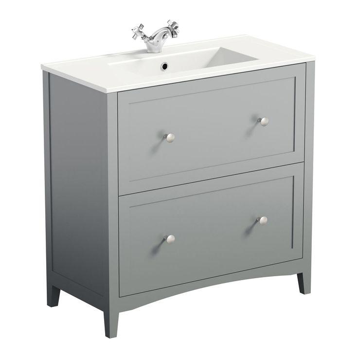 The Bath Co. Camberley grey vanity unit with basin 800mm | VictoriaPlum.com