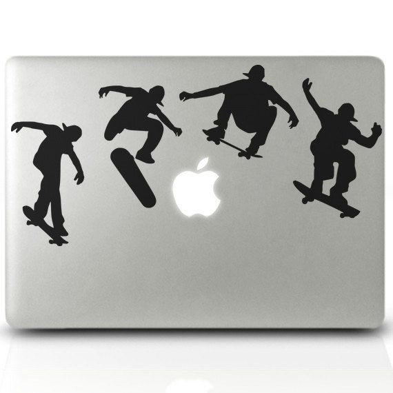 Laptop Sticker Skate boarders DECAL - This skateboarder vinyl decal will add some fun to your macbook.  Hurry to get yours here: https://www.etsy.com/listing/387510624/laptop-sticker-skate-boarders-decal