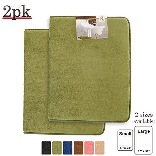 Memory Foam Bathrug -2-Pack – Sage (Green) Bath Mat and Shower Rug Small 17″ x 24″ Inches, Non Slip…