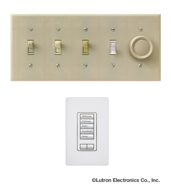 Get rid of that row of ugly switches! With a Lutron light control system you can control those same lights with a stylish keypad. Contact Seven Integration for more details #smarthome #homeautomation