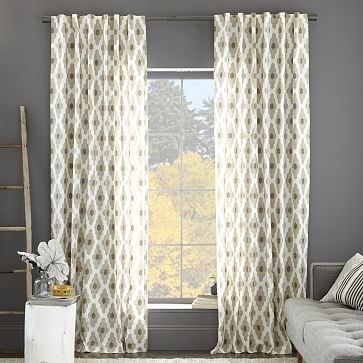 Cotton Canvas Bazaar Curtain – Flax #westelm for either master bedroom or living and dining....