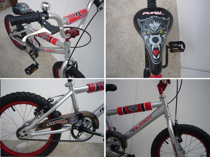"Velo BMX RALEIGH Fury Gris Rouge 16 pouces Bike bicycle 16"" enfant child NEUF"