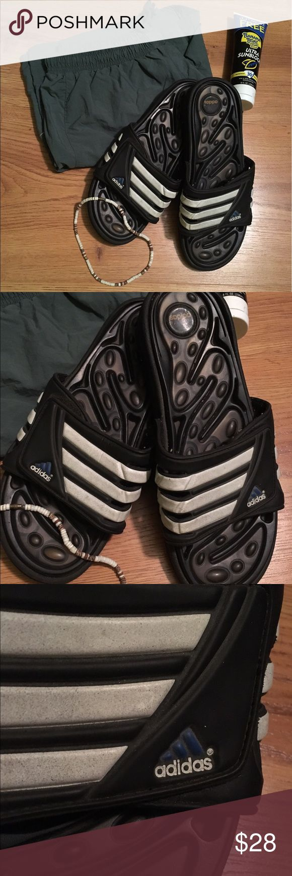 Men's Classic Adidas Sandals - 13 Authentic Men's Classic ADIDAS® Sip-On Sandals/Shower Shoes/House Slippers... ✨Gently Used - BARELY WORN✨ **EXCELLENT CONDITION** ... Adjustable Velcro for Perfect Fit... Size 13 ADIDAS Shoes Sandals & Flip-Flops