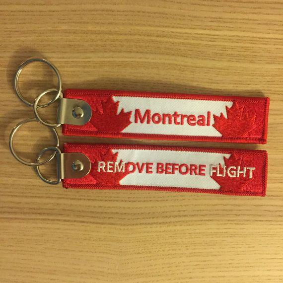 """Porte-clé Keyring """"Remove Before Flight"""" Montreal YUL gravé numéroté engraved numbered crew pilot avion aviation Canada MTL feuille érable"""