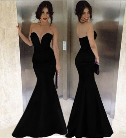 Long Black Strapless Evening Dress
