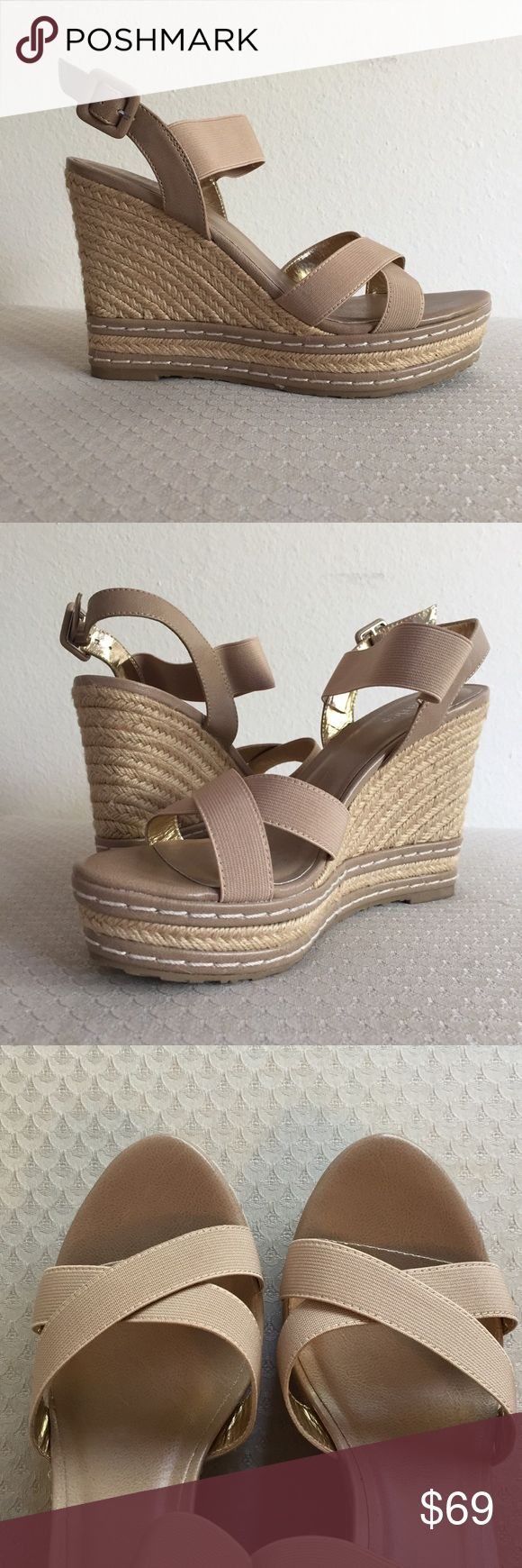 """✨✨NEW✨✨ NIB Charles by Charles David Wedge Sandal """"Thrice"""" style wedge sandal from charles by Charles David. The beige color and the 4.75"""" heel make these super leg-lengthening (and super versatile!), while the wedge shape and a 1.5"""" platform mean it's still super-walkable!  The straps are stretchy and adjustable at the ankle. Tried on on carpet but otherwise never worn!! Charles David Shoes"""