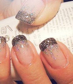 """French manicure and glitter waterfall / so dig this. Maybe with a dark pink """"water falling"""" to a light pink. Or black to blue. Colors are awesome."""