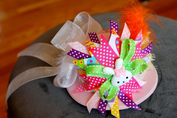 This Easter Bonnet has PLENTY of frills upon it!! Easter hat chick yellow flower with orange by bitsybowsandthings, $24.99