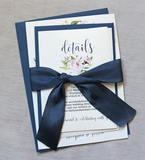 Elegant Wedding Invitation, Navy Wedding Invitation, Rustic Wedding Invitation, Blush Pink wedding Invitation. modern rustic, navy and pink. Beautiful modern and boho floral design, elegant silk ribbon and rustic kraft envelopes, perfect mix to wow your guests. These handmade wedding invitations are the perfect way to invite your family and friends to your vintage or rustic wedding! These wedding invitations are printed on off white cardstock Tied with luxurious hand dyed silk ribbon.(more…