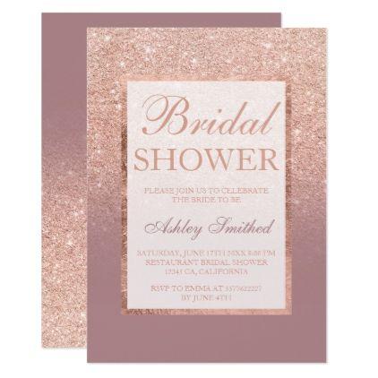 #modern - #Faux rose gold glitter dusty chic Bridal shower Card
