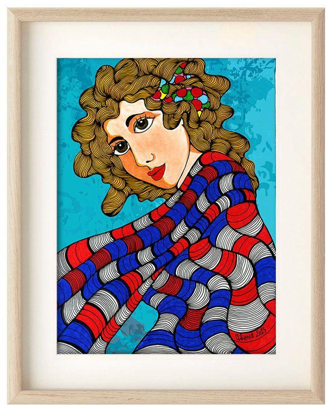 Girl with shawl poster, girl home decor, art print, Shawl poster, Professional Digital print, girl wall art, girl illustration by ArtChromata on Etsy