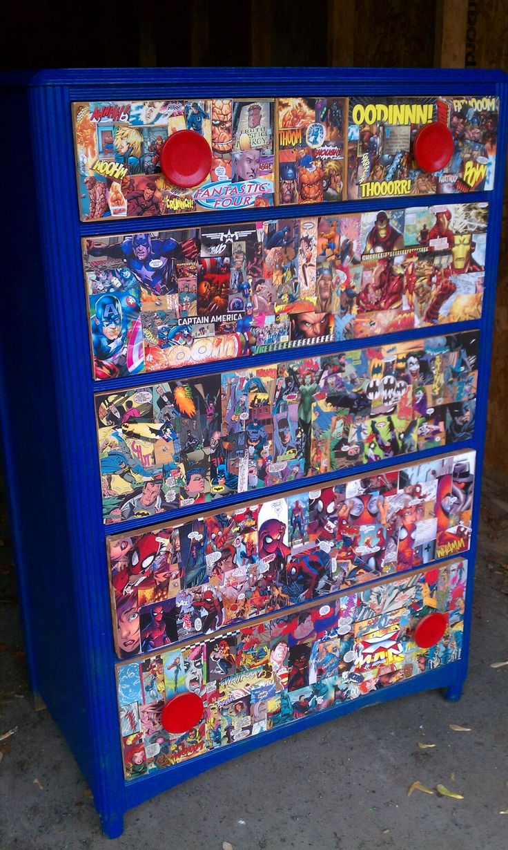 Super Hero dresser--  Need: Mod Podge, Sponge brush, comic books, dresser--  Steps: 1. Cut up comic book characters  2. Use sponge or brush to spread mod podge on dresser  3. Make a collage of the cut out comic book pieces onto the dresser then spread another layer of the mod podge over the already placed comic book pieces.  4. Spray paint dresser and knobs.  5. Enjoy your new dresser!