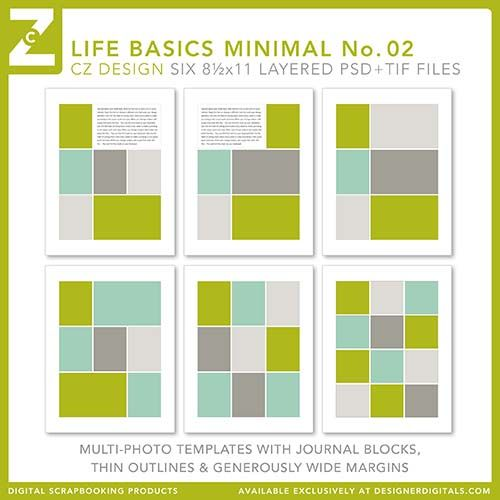 85x11 Life Basics Minimal No 02 - Digital Scrapbooking Templates - digital storyboard templates