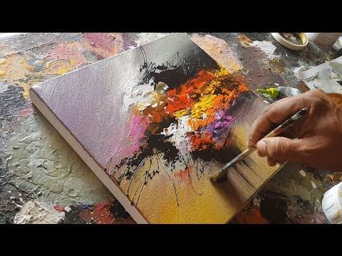 Abstract Painting / Acrylic Paints / Spatula / Flat Brush / Demonstration – YouTube