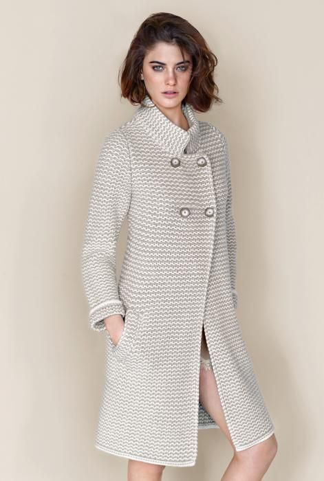 Two-coloured wool cashmere coat Falconeri