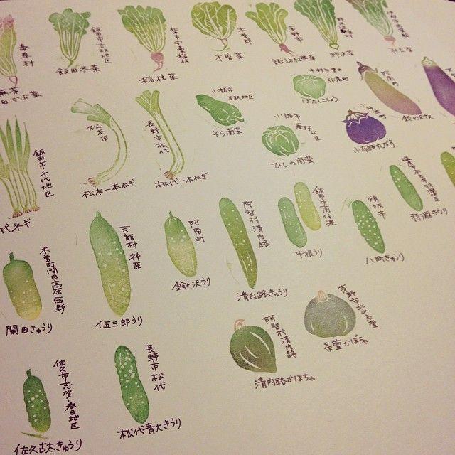 信州伝統野菜消しゴムはんこ。 69種のうち半分近くまで出来ました。 #eraserstamp #消しゴムはんこ