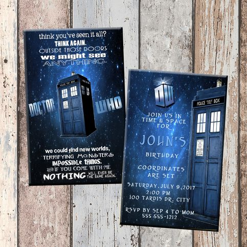 Dr Who Personalized Birthday Invitation 2 Sided, Birthday Card, Party Invitation, Dr Who Party · SCG Designs  ·