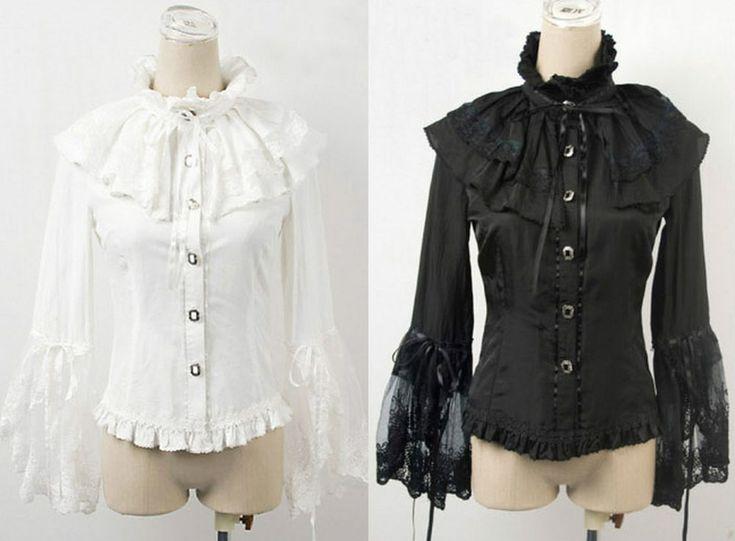 Gothic Punk Rave Damen Bluse schwarz weiß Rüschen Viktorianisch Shirt WGT LY-003  | eBay