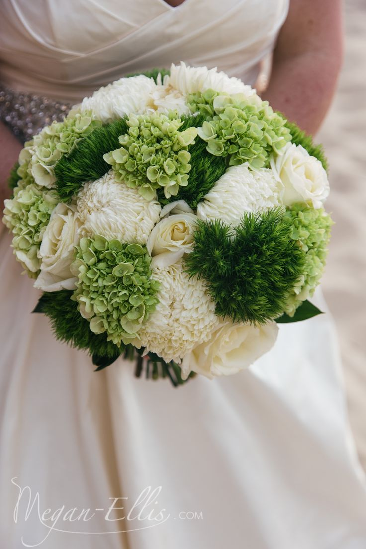 White Football Mum White Rose, Green Hydrangea Green Trick Bridal Bouquet by Love In Bloom Florist Key West at Marriott Beachside Resort. Photo by Megan Ellis Photography