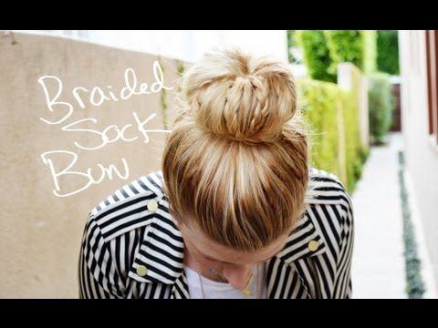 Braided sock bun, another long hair style up do I can't wait to do