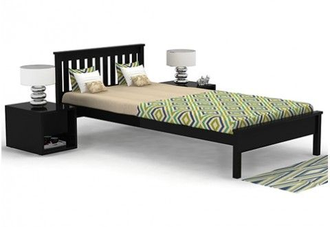 Venus single bed framed with black color gives your bedroom a stylized look.