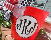 monogrammed hand painted bucket.....wine bucket, gift basket, teacher gift,  great graduation gift,  wedding or bridal gifts ...