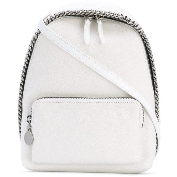 Stella McCartney mini Falabella backpack (£680) ❤ liked on Polyvore featuring bags, backpacks, white, leather backpack, faux leather rucksack, white backpack, mini backpack and shoulder strap backpack