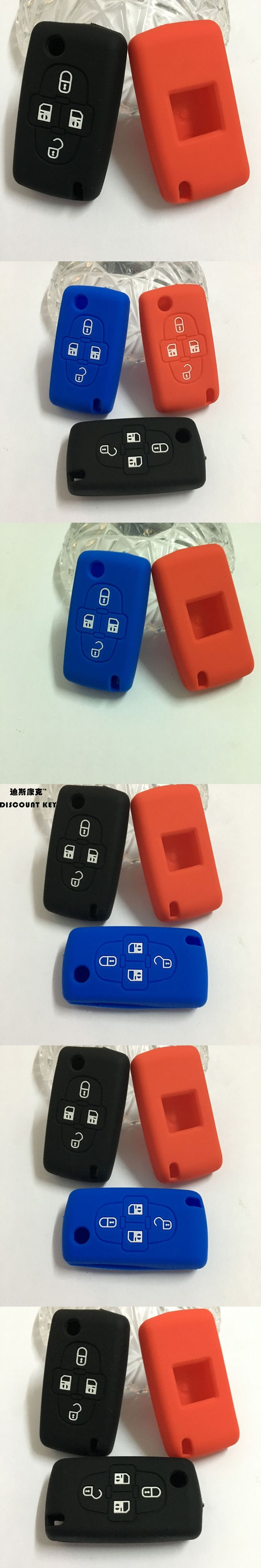 Silicone car key case cover for Peugeot 1007 Citroen C8 4 Buttons flip Remote Key Case car accessories