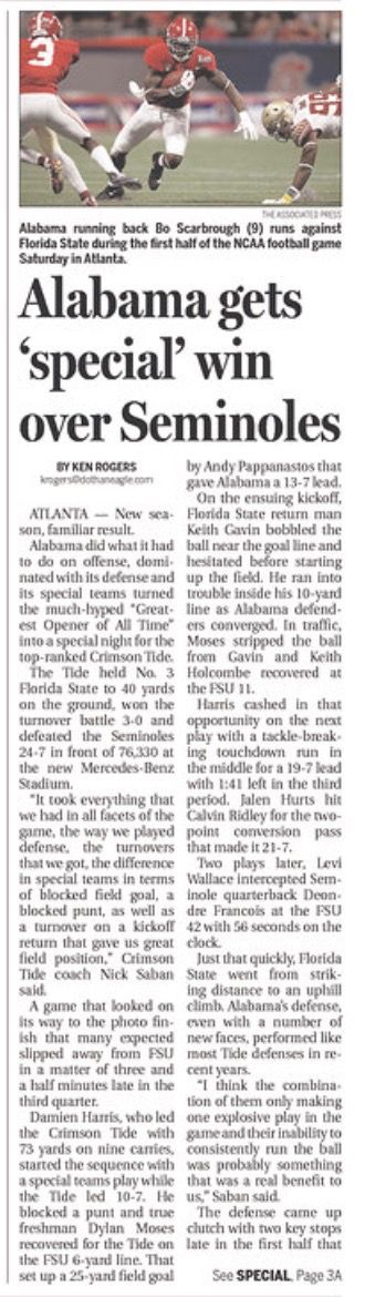 Alabama 24 Florida State 7 - front page of The Dothan Eagle September 3, 2017
