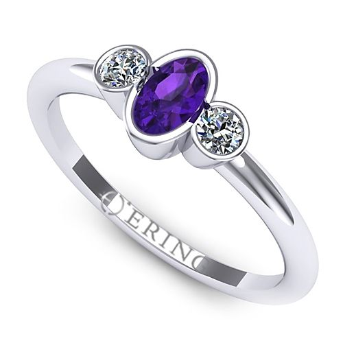 Inel logodna L89AAM inel cu diamant si ametist