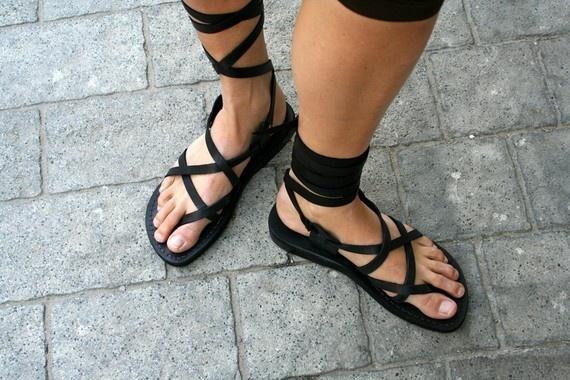 Black Gladiator Leather Sandals by SANDALI on Etsy, $60.00