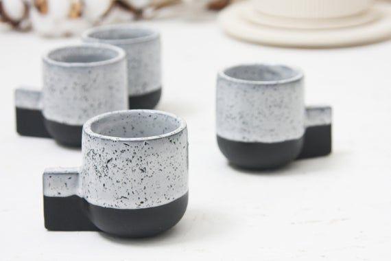 Ceramic Espresso Cup In Black And White Glaze And Black Dots