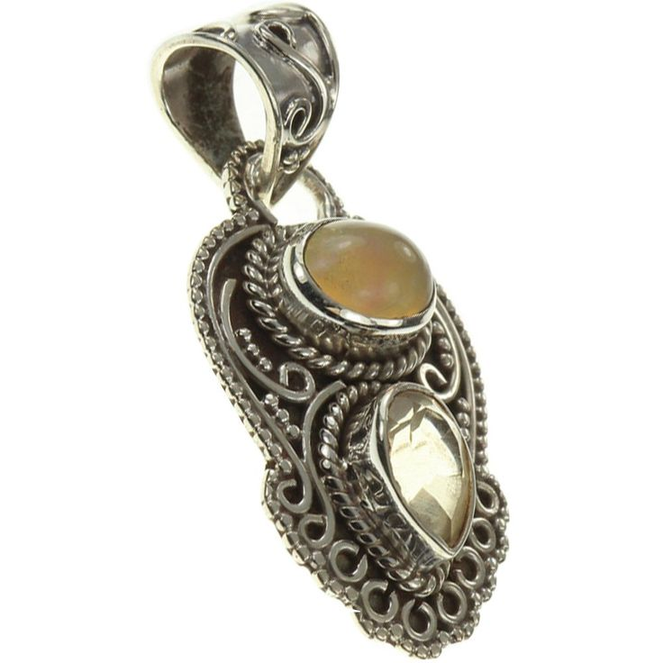 """925 Sterling Silver FIRE ETHIOPIAN OPAL, CITRINE Pendant, 1.38"""". BeadsTreasury Product Description BeadsTreasury provides our customer with high quality handcrafted jewerly in affordable price. Most of our jewelry are handcrafted, thus every pieces of jewelry is UNIQUE. This 7MM FIRE ETHIOPIAN OPAL, CITRINE gemstone is crafted in 925 Sterling Silver Pendant. Its weight is 2.50g. What is 925 Sterling Silver? 925 Sterling Silver jewelry is composed with 92.5 percent silver and 7.5 percent..."""