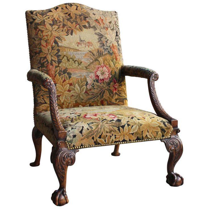 Rare C19th George II Style Tapestry Upholstered U0027Gainsboroughu0027 Armchair